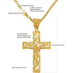 Gold Plated Large Filigree Cross with quality tag and durable lobster clasp