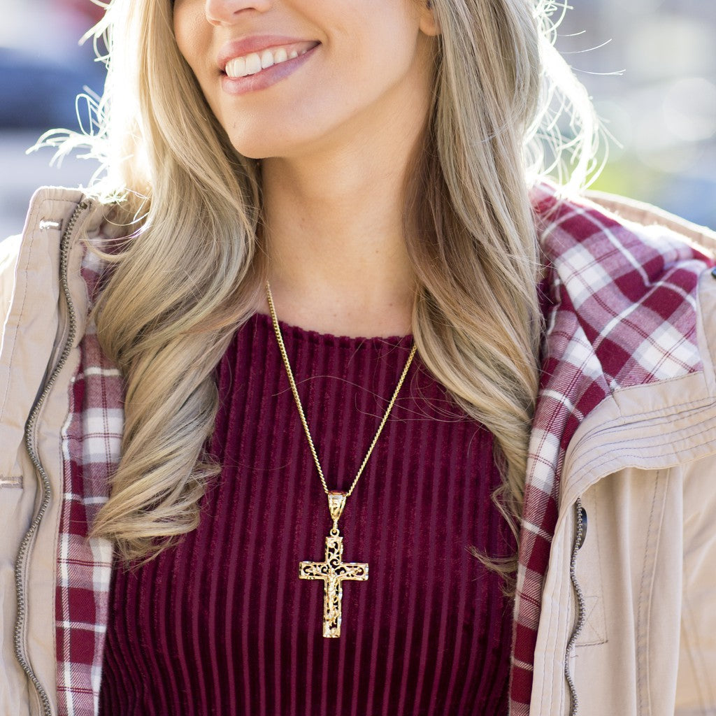 Woman wearing Gold Plated Large Filigree Cross