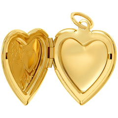 Opened Gold Plated Heart Locket Necklace, Double Heart Style