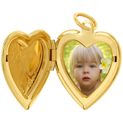 Opened with picture of a  Gold Plated Heart Locket Necklace, Double Heart Style