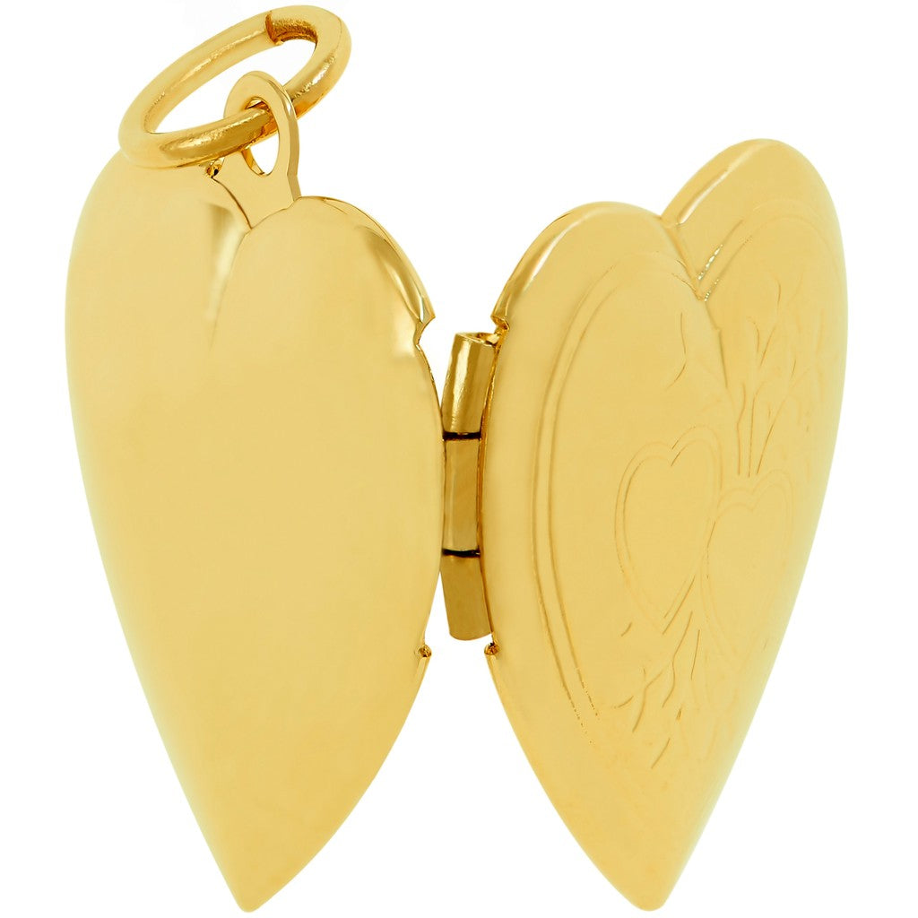 Gold Plated Heart Locket Necklace, Double Heart Style - Back style