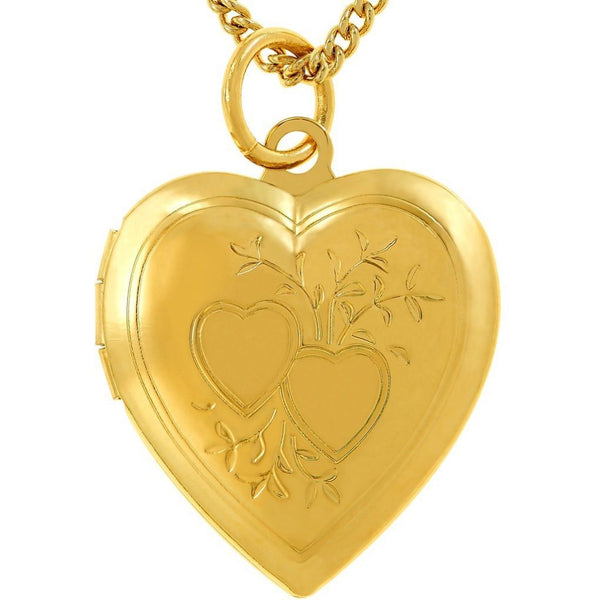 Gold Plated Heart Locket Necklace, Double Heart Style