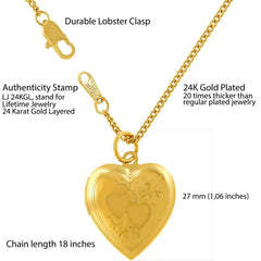 Gold Plated Heart Locket Necklace, Double Heart Style with quality tag and durable lobster clasp