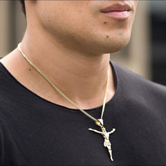 Man wearing Gold Plated Jesus Pendant with Cubic Zirconia, Cross Necklace