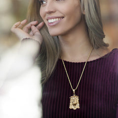 Woman wearing Gold Plated Jesus Pendant - Face of Christ