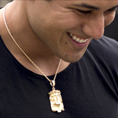 Man wearing Gold Plated Jesus Pendant - Face of Christ