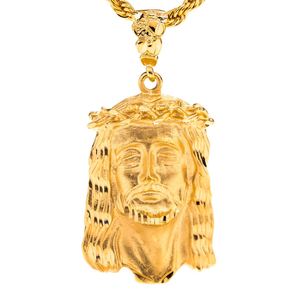 Gold Plated Jesus Pendant - Face of Christ
