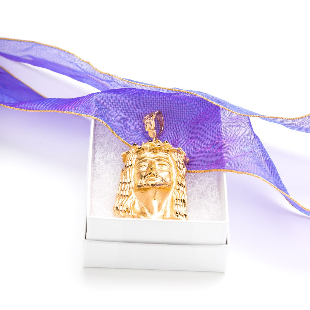 Gold Plated Jesus Pendant - Face of Christ in a box