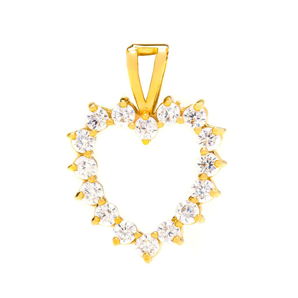 Gold Plated Heart Necklace Open Cubic Zirconia Pendant
