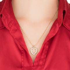 Woman wearing Gold Plated Heart Necklace Open Cubic Zirconia Pendant