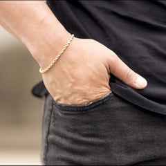 Gold Plated 5mm Rope Bracelet worn by a man as his bracelet