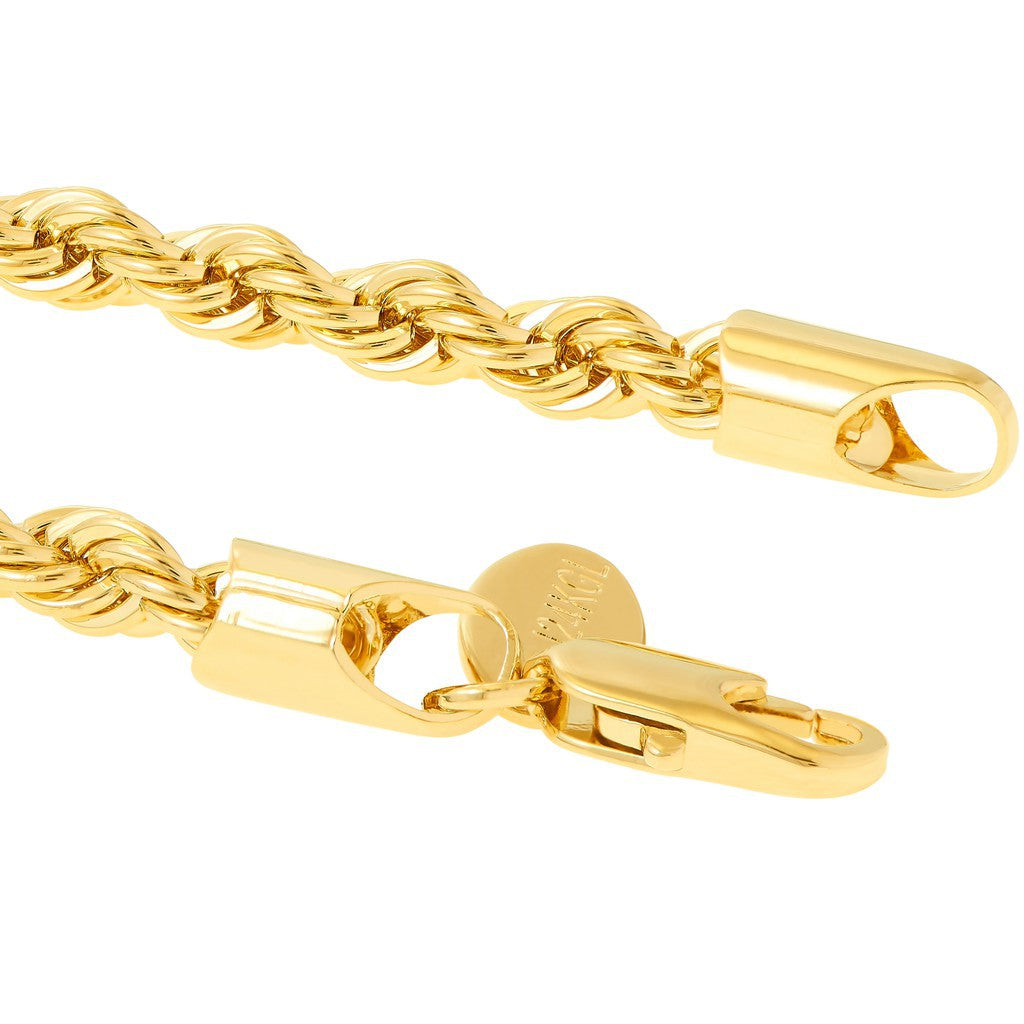 Gold Plated 5mm Rope Bracelet with quality tag and durable lobster clasp