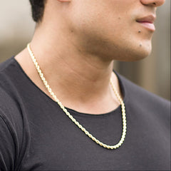 Gold Plated 5mm Rope Chain worn by a man in black as his necklace