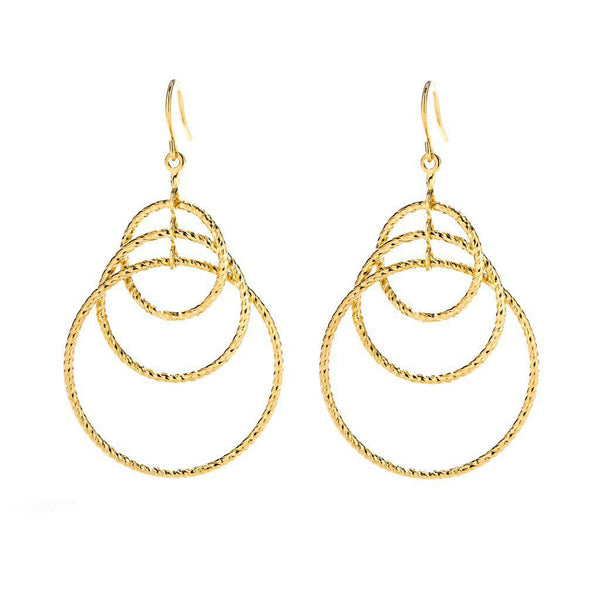 Gold Plated Triple Hoops Earrings