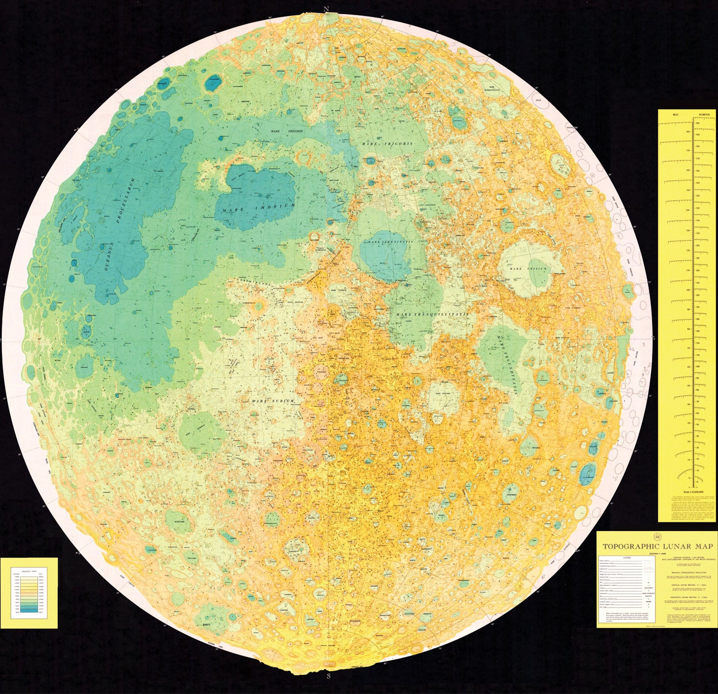 Topographic Lunar Map 1963