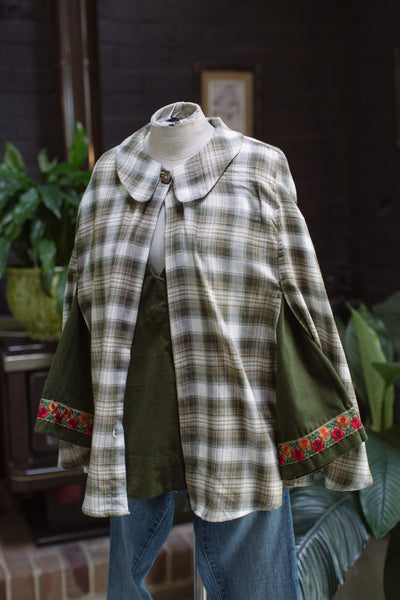 You Gave Me Wings Cape - Green Check Brushed Cotton