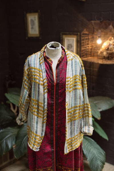 The Rahul Jacket - Autumnal Coloured Check featuring Mustard Yarn