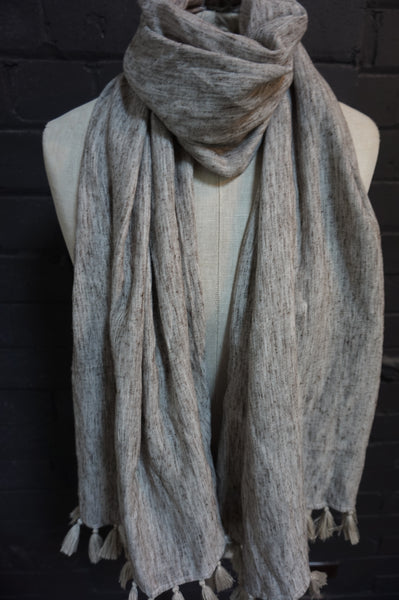 Neutral brown fleck -  scarf with sweet light grey tassles