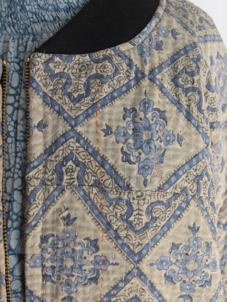 The Bomber Jacket - Gorgeous Vintage Kantha Fabric - Pretty blue hues