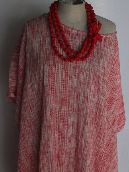 Kaftan - Red weave with red tassles and pockets