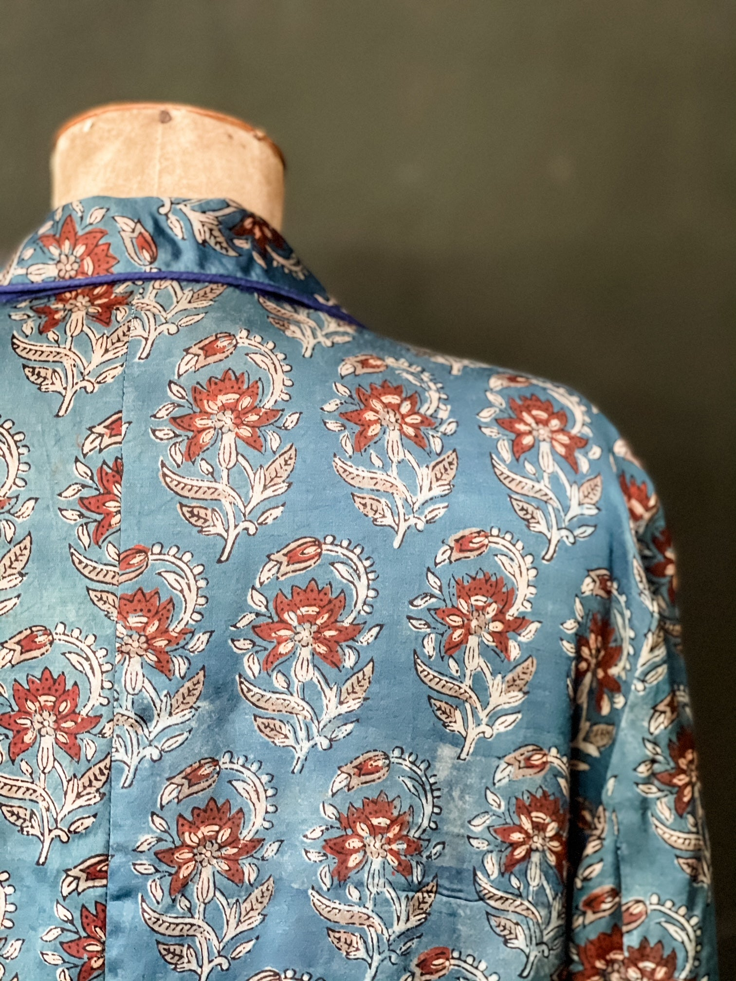The Blazer - Blue Woodblock Printed Modal - L