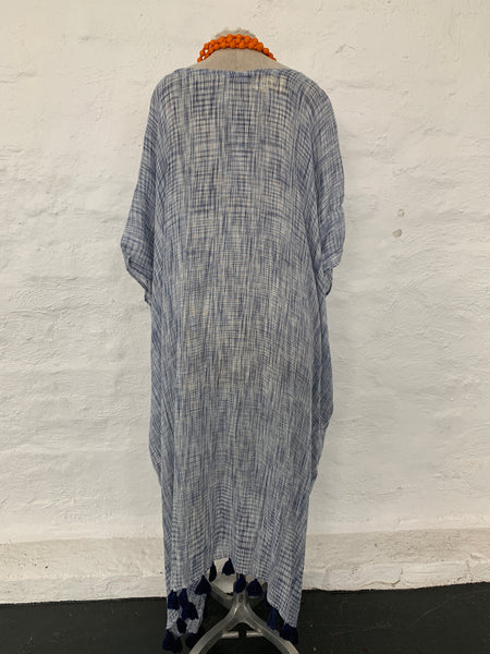 Kaftan - Blue weave with navy tassles and pockets