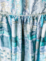 Load image into Gallery viewer, Peace Dress - Silk Sari - Blue / Grey