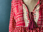 Load image into Gallery viewer, Peace Dress - Red Patterned Cotton Sari