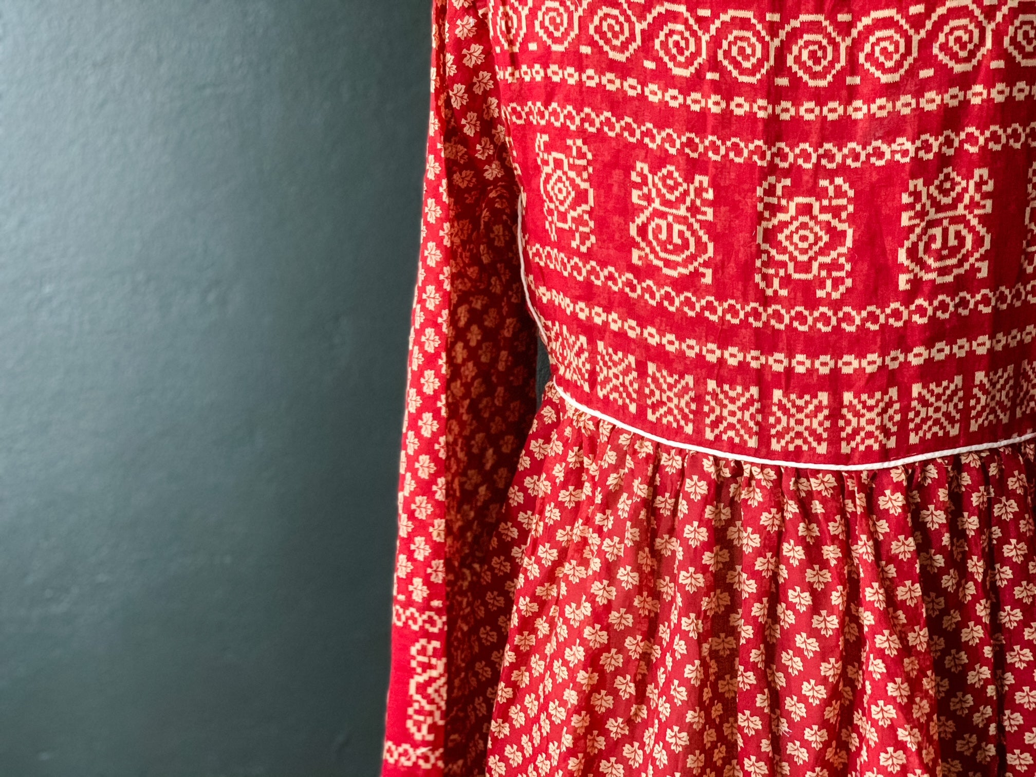Peace Dress - Red Patterned Cotton Sari