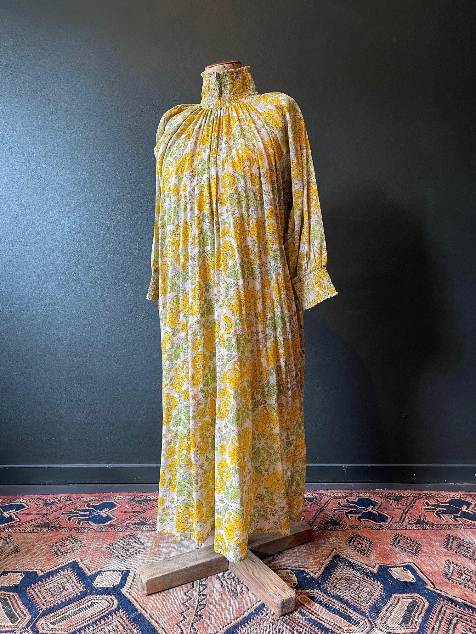 The Angel Dress - Floral Cotton - Yellow