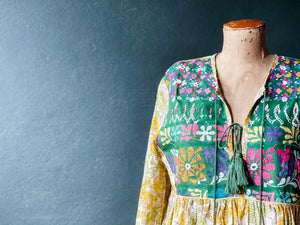 Peace Dress -  Woodblock Printed Cotton with Vintage Front Panel and Tassles