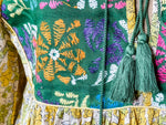 Load image into Gallery viewer, Peace Dress -  Woodblock Printed Cotton with Vintage Front Panel and Tassles