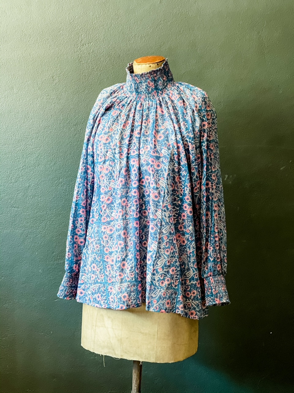 Angel Top - Woodblock Printed Cotton - Blue