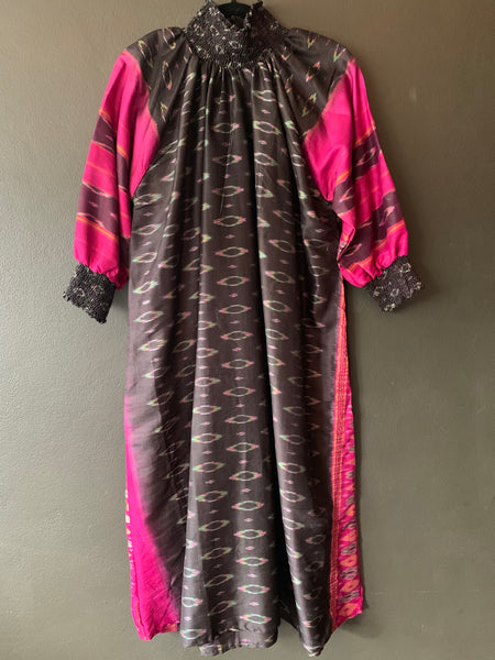 The Angel Dress - Gorgeous Black and Pink Ikat