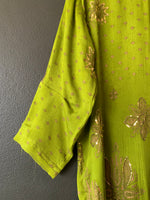Load image into Gallery viewer, Sari Tee - Vibrant Green Sheer Silk with a Little Bling