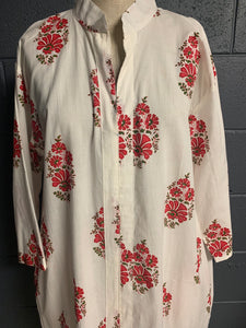 The Divinity Dress - Woodblock Printed Cotton Beauty - Traditional Floral (Long)