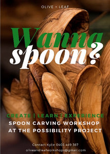 Learn the tradition of spoon carving with Olive and Leaf Handmade. Saturday April 17th. 10am-3pm.