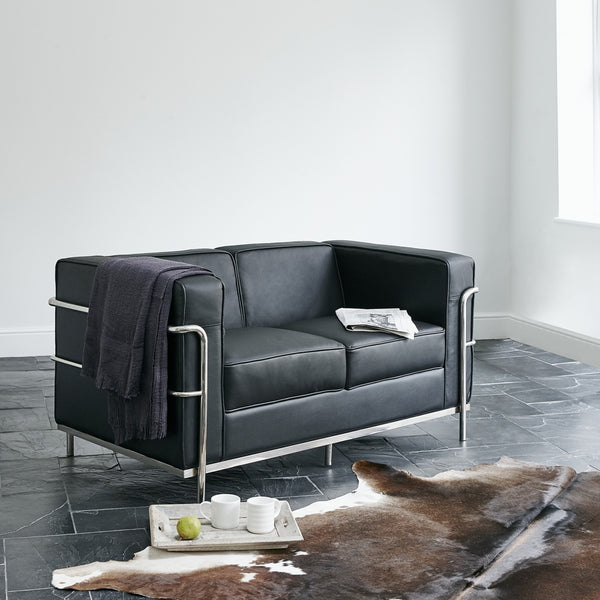Corbusier Style Italian Leather Two Seat Sofa