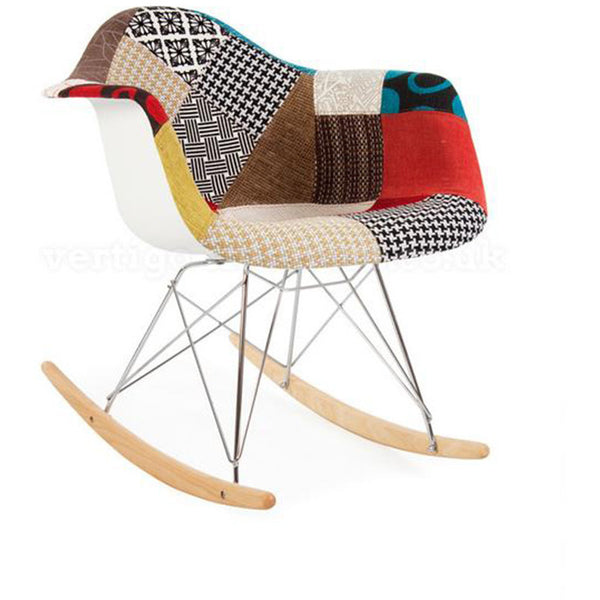 Modern Patchwork Rocking Chair inspired by Eames RAR - Stíl