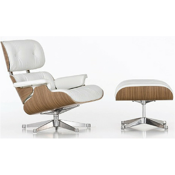 White Italian Leather Eames Style Lounge Chair & Ottoman - Stíl