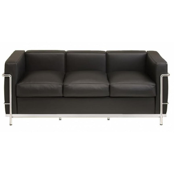 Corbusier Style Italian Leather Three Seat Sofa - Stíl