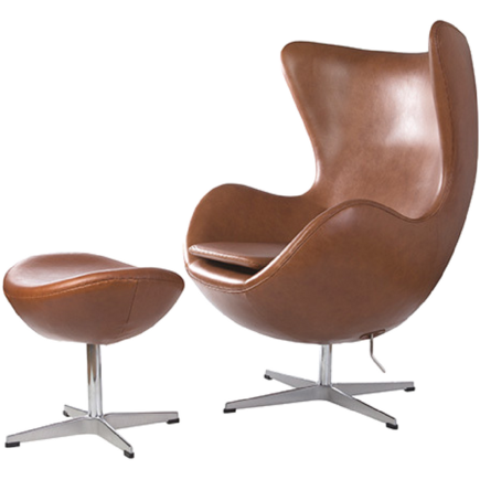 Premium Italian Tan Leather Egg Chair and Ottoman - Stíl