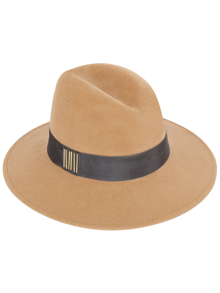 Camel Fedora with Grey band and Gold beads