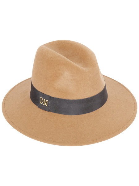 Camel Fedora with Grey band and monogrammed initials