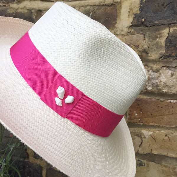 Panama Trilby with pink band and shells
