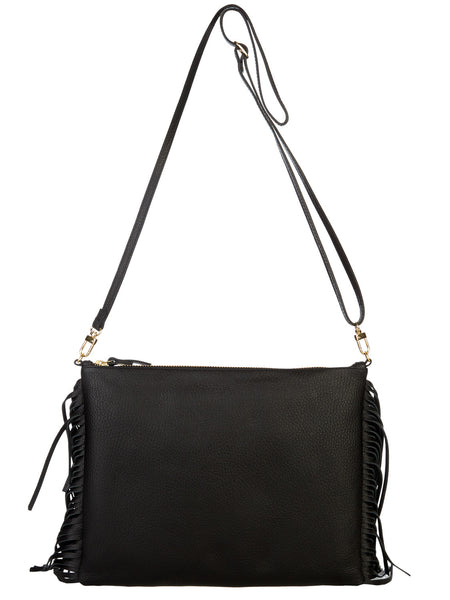 Fringed Cross Body Bag - Black
