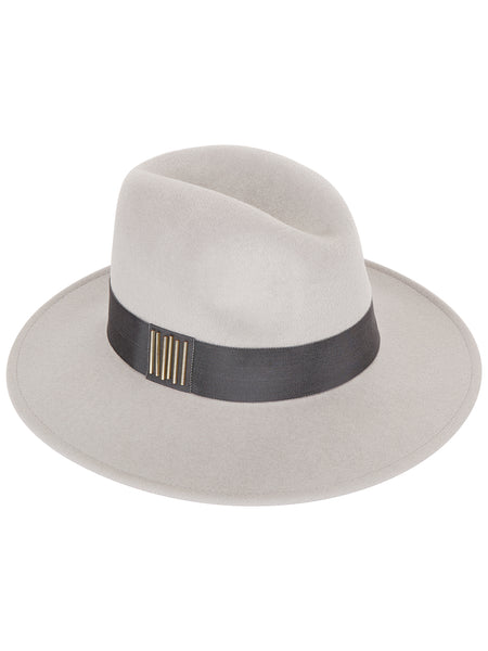 Grey Fedora with Dark Grey band and gold beads