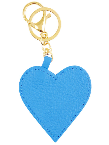 Leather Heart Key Ring - Blue