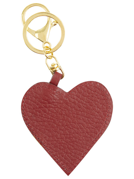 Leather Heart Key Ring - Burgundy
