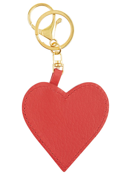 Leather Heart Key Ring - Red